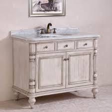 Carrara White Marble Top Single Sink Bathroom Vanity In Antique - 48 bathroom vanity antique white