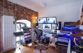 interior stylish home music studio design with brick wall and