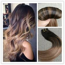 Indian Remy Human Hair Clip In Extensions by 6a Balayage Brown With Blond Remy Human Ombre Clip In Hair