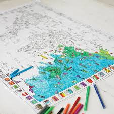 Kids World Map Colour In World Map Poster And Pens By Doodlebugz