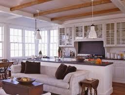 neumann lewis buchanan architects wood beams white kitchen