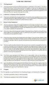 equipment rental hire agreement template