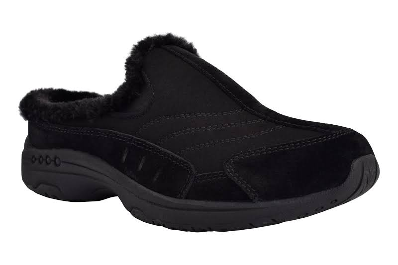 Easy Spirit Travel Fuzz Flats Black- Womens