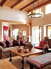 southwestern style homes with round chandelier and different