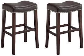 leather saddle bar stools amazon com crown mark 2991 nadia saddle chair espresso 2 per
