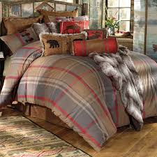 Red King Comforter Sets Rustic Bedding King Size Mountain Trail Plaid Moose U0026 Bear Bed