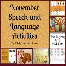 thanksgiving vocabulary pictures november speech and language activities u2014 super power speech