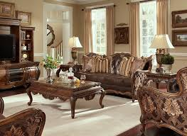 Sofa With Wood Trim by Lavelle Melange Traditional Leather And Fabric With Wood Trim