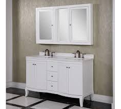 accos 60 inch white double bathroom vanity cabinet with medicine