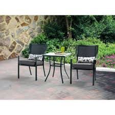 Black Wrought Iron Patio Furniture Sets by Mainstays Alexandra Square 3 Piece Outdoor Bistro Set Grey With