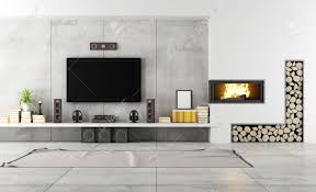 Living Room With Tv by Modern Living Room With Tv And Fireplace Rendering Stock Photo