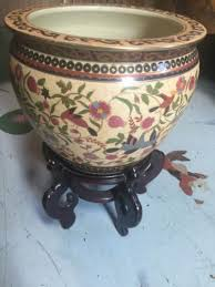 large chinese fish bowl planter stand not included what u0027s it worth
