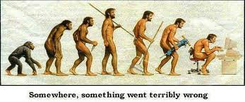 Image of cave men progressing through the world of technology