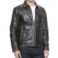 Black Leather Moto Jacket Mens Distressed Leather Jacket