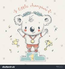 Sport Invitation Card Cute Koala Bear Sports Champion Cartoon Stock Vector 571647952