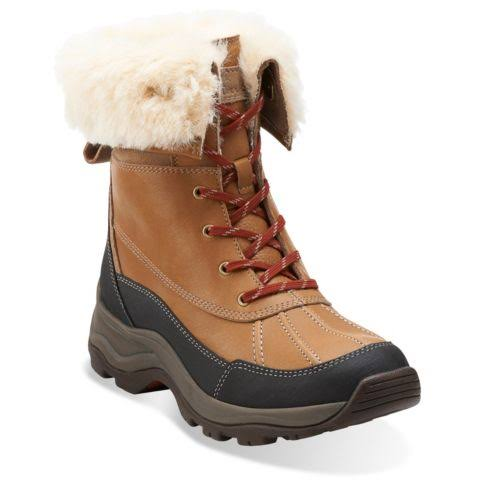 Clarks Arctic Venture Leather Winter Boots Brown 6 Medium (B,M)