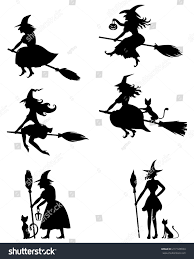 witch silhouette png set silhouette blackandwhite image halloween witches stock vector