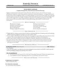 Financial Resume Sample by Advisor Resume Example