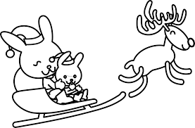 santa rabbit xmas christmas coloring book colouring black white