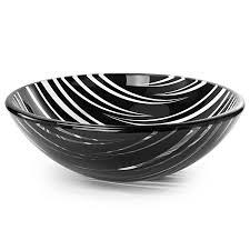 tempered glass vessel bathroom vanity sink round bowl black and