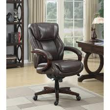 Brown Leather Task Chair Desk Chairs Home Office Furniture The Home Depot