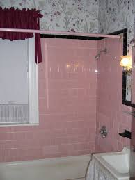 Vintage Bathroom Tile Ideas Our Original Pink Tile Bath With Matching Early 1990s Wallpaper