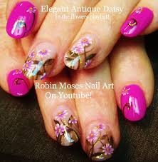 nail art pink daisy nails cute vintage daisies nail design