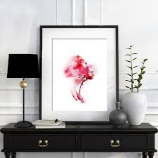 abstract home decor pink flower minimalist watercolor painting art print modern home
