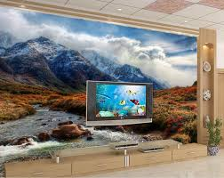 popular 3d wall murals mountain buy cheap 3d wall murals mountain 3d stereoscopic custom 3d wall mural wallpaper mountain stream of water blue sky and white clouds