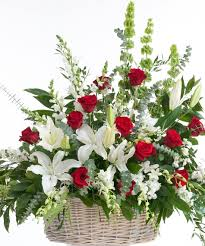 classic red and white floor basket stadium flowers