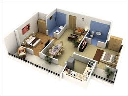 Home Design 3d Ipad Balcony 10 Awesome Two Bedroom Apartment 3d Floor Plans