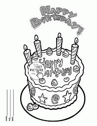 happy birthday cake card for friends coloring page for kids