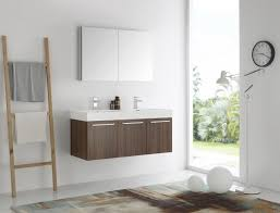 Modern Walnut Bathroom Vanity by Mezzo 48 Inch Walnut Wall Mounted Double Sink Modern Bathroom Vanity
