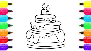 cake coloring pages for children animation learning drawing with