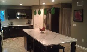 new construction kitchen with java maple cabinets and calacatta