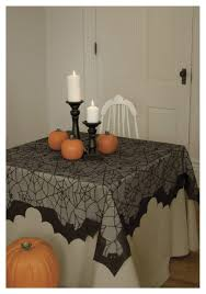 halloween table cloth spider web and bat table topper