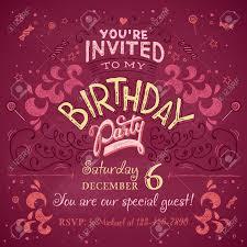 Invitation Card Designer Vintage Birthday Party Invitation Card Design Typography And