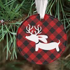 plaid reindeer dachshund christmas tree ornament u2013 the smoothe store
