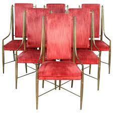 Bamboo Dining Room Furniture by Set Of Six Mastercraft Faux Bamboo Brass And Velvet Dining Chairs