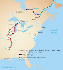 This map is the route of Marquette and Jolliet's discovery of the Mississippi river