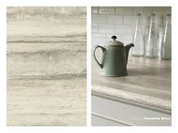 Formica Laminate Kitchen Cabinets 180fx Laminate 3458 Travertine Silver On A Kitchen Countertop