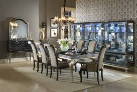 aico hollywood swank 9 pc leg dining table set in caviar
