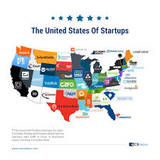 States Of United States Map by The United States Of Startups The Most Well Funded Tech Startup