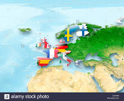 Map Of Western Europe by 3d Map Of European Union With Flag And Eu Countries Highlighted In
