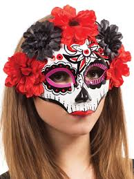 ghost half mask halloween day of the dead masks partynutters uk