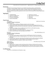 Resumes For Jobs Examples by Best Computer Repair Technician Resume Example Livecareer