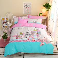 Full Size Bed In A Bag For Girls by Aqua Pink And White Eiffel Tower Print Paris City Scene French