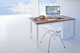 white metal desk with vintage wood top ying u0026 yang white heavy