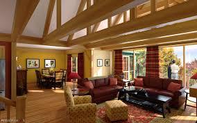 natural elegant interior living room of the modern log cabin kits
