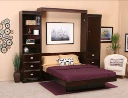 Wall Unit Storage Bedroom Furniture Sets Furniture Dark Brown Polished Wooden Murphy Bed With Purple